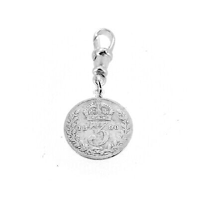 Sterling Silver 1890 Three Pence Coin Pocket watch Albert Chain Fob Charm -