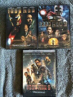 Iron Man 1 2 3 DVD Trilogy All Marvel Movies New Sealed & Free Shipping!
