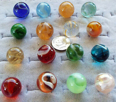 16 Antique Swirl Marbles Ruby Cobalt Teal ++++