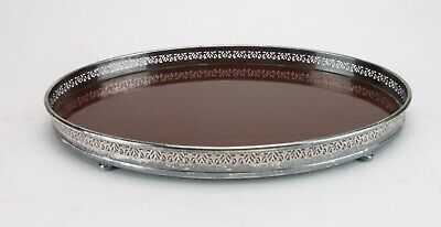 Antique Silverplate Oval Vanity Tray Formica Silver Hallmarks