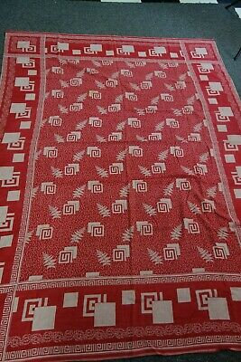 """Victorian Tablecloth- 52""""x71""""- Red & White- Ferns Pattern- BEAUTIFUL- SALE"""