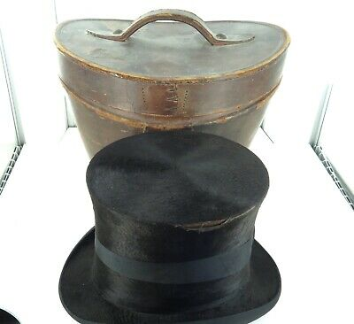 ".LATE 1800s / EARLY 1900s ""HOPE BROTHERS, LONDON"" TOP HAT + ORIGINAL TRAVEL CASE"