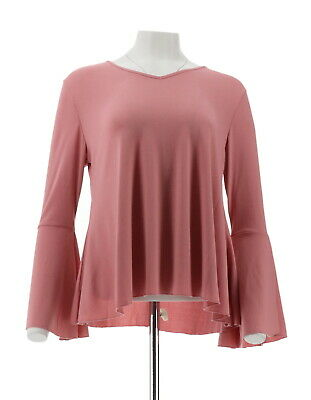 50a1f870a09f0 IMAN Runway Chic Luxurious Stretch Knit Long Bell-Sleeve Top ROSE XS NEW  568-