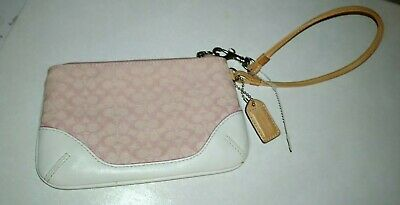 Coach Pink canvas and white leather trim Wristlet~Clean!