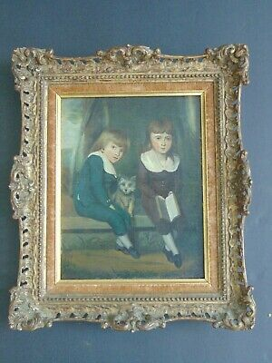 SMALL 18th CENTURY OIL PAINTING of TWO BOYS AND DOG in HAND CARVED ANTIQUE FRAME