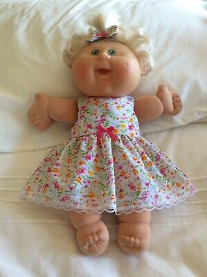 "DOLLS CLOTHES TO FIT 14"" CABBAGE PATCH DOLL -  Dress, Hair Bow - Small Flowers"