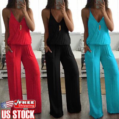 Womens Bodycon V Neck Sleeveless Jumpsuit Romper Playsuit Long Pants Trousers US