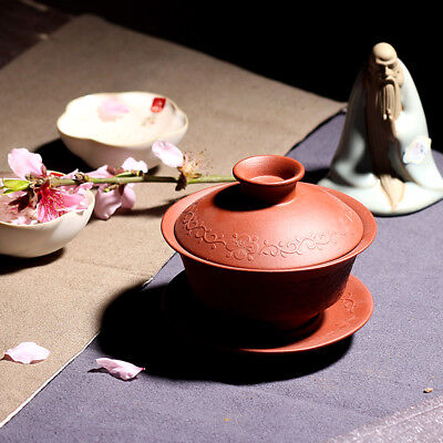 Handmade Yixing Zisha Clay Red Zisha Gaiwan Teacup with Saucer Kung Fu Tea 110ml