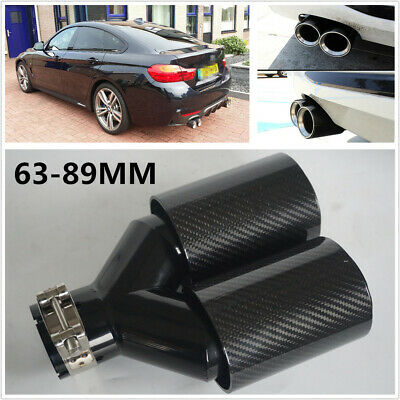 Y Style Glossy Car Thickened Carbon Fiber Exhaust Dual Tips Tail Pipe Left Side