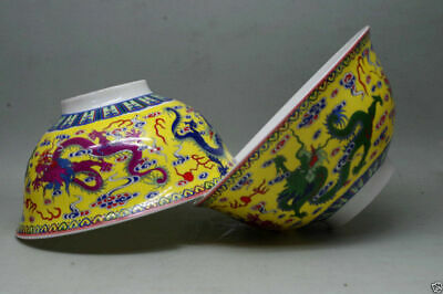 Chinese qianlong mark hand-painted dragon famille rose porcelain bowl 2 PC