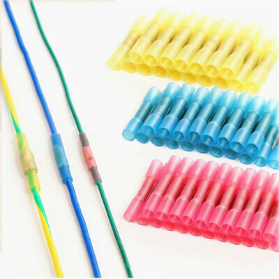 100x Waterproof Heat Shrink Insulated Butt Crimp Terminals Wire Cable Connectors