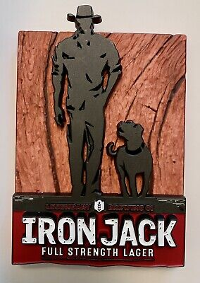 VERY RARE NEW IRON JACK LAGER TAP DECAL MANCAVE BEER Free Postage!