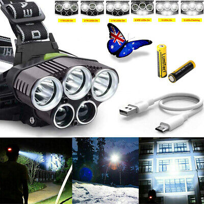 LED Headlamp Rechargeable Head Light Torch Lamp Flashlight 90000LM 5X XML T6