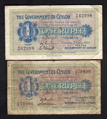 Ceylon. 1 Rupees : P-16b 1934 (VF)  & P-16c 1938 (Fine).. 2 Notes