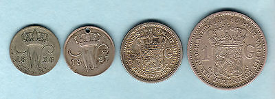 Netherlands. 10 Cents:1826B & 1827.  1/2 Gulden:1913 & 1 Gulden:1915.