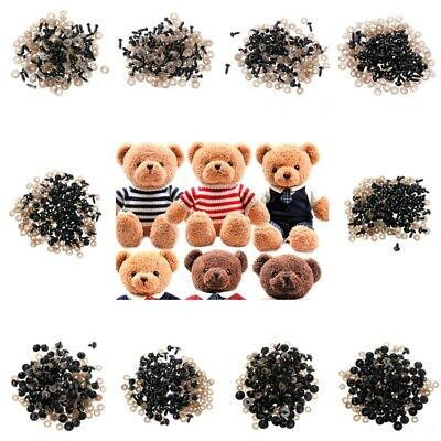 100pcs 5-20mm Black Plastic Safety Eyes For Teddy Bear Doll Animal Puppet Crafts