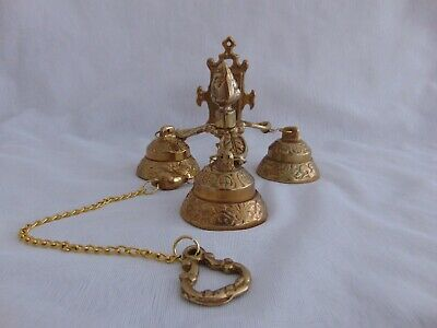 Vintage Brass Wall Mounted Hanging 3 Bell Door Chime