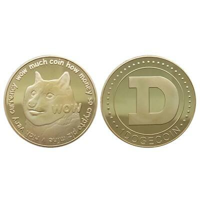 1X Dogecoin Commemorative Rich Dog Coin Gold Collect Gifts Gold Plated Iron Coin