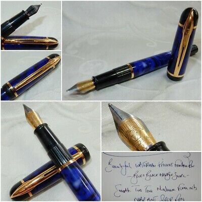 Stunning Waterman Phileus Fountain Pen Blue Marble Medium Firm Nib Near Mint