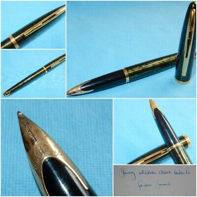 Superb Waterman Carene Fountain Pen Sea Green Shimmer 18K Gold Fine Near Mint
