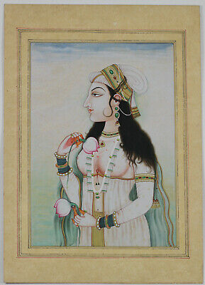 Vintage Indian Watercolour Painting Mughal Queen 20thC Mughal Style FINE