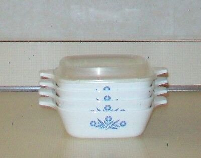 Corning Ware Blue Cornflower Set of 4 P-41-B Petite Pans + 1 Plastic Storage Lid