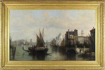 St John Mulholland Huge Large Fine Antique Oil Painting Venice City Italy Signed