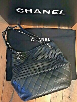 8a8be2460a6d88 Authentic CHANEL Black Leather *Up In The Air* Tote Bag Chain Perforated w  Box