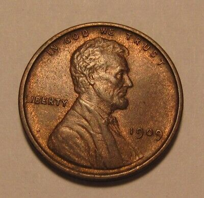 1909 Lincoln Cent Penny - Red/Brown AU+ Condition - 2SU