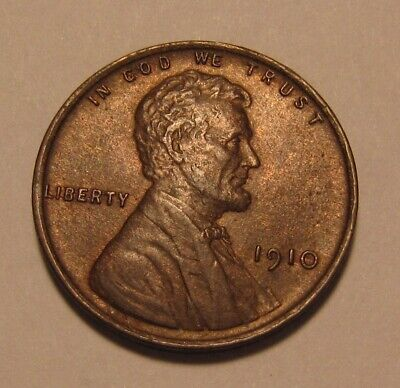 1910 Lincoln Cent Penny - Red/Brown AU+ Condition - 4SU