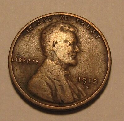 1912 S Lincoln Cent Penny - Fine to Very Fine Condition - 8SU