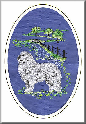 Pyrenean Mountain Dog Birthday Card or Notecard Embroidered by Dogmania