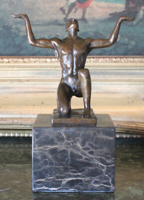Male Nude Yoga Pilates Praying Meditating Man Bronze Marble Statue Sculpture Art