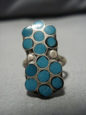 Wonderful Vintage Zuni Native American Turquoise Sterling Silver Ring Old