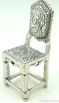 1895 DUTCH STERLING SILVER DOLL HOUSE MINIATURE CHAIR B//O HALLMARKED 49MM