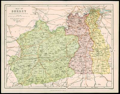 1850 Original Antique MAP OF SURREY Parliamentary Divisions Railroads (2)