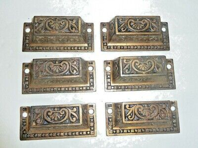 6 Antique Victorian Eastlake 1800's Cast Iron Ornate Embossed Bin Drawer Pulls