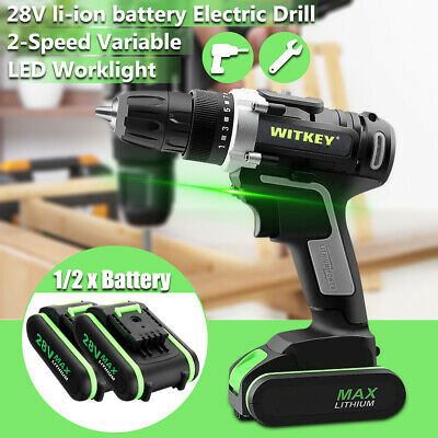 28V Cordless Drill Electric Screwdriver 35nm Dual Li-Ion Battery LED Worklight