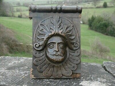 SUPERB 19thc GOTHIC OAK CARVED HEAD OF THE GREEN MAN C.1860's