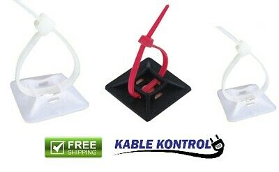 Kable Kontrol Adhesive Backed Cable Tie Mounts, Square, (100PK)