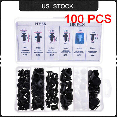 100pc Clip Trim Car Push Pin Rivet  Bumper Door Panel Retainer Assortment 6-Size