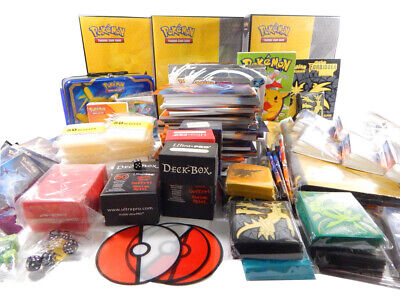 Huge Lot of Pokemon TCG Game Supplies Sleeves Dice Illustration Book + Cards