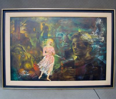 Original Gerda With Mixed Media on Masonite Oil Painting ''Young Man's Dream''
