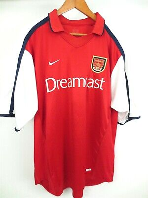 2ac9d9282 Vintage RARE NIKE Arsenal 2000-2002 Football Jersey Dreamcast Red Size XL