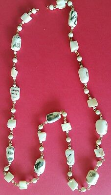 29e509de5 Vintage Milk Glass and Pearl Necklace Irregular Shapes See Pictures Free  Return