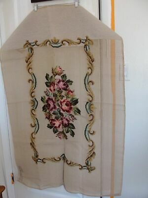 """BUCILLA NEEDLEPOINT PREWORKED BENCH COVER FLORAL Partially worked in ivory - 48"""""""