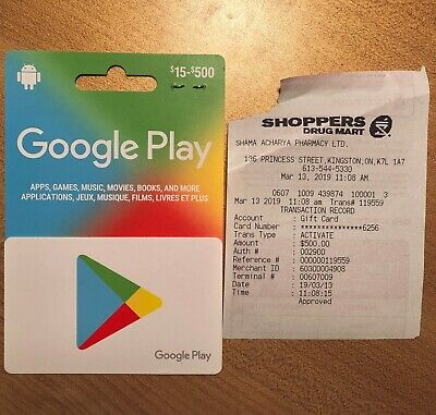 Google Play Gift Card $500 - brand new card in mint condition with receipt