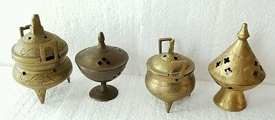 4 Vintage Brass Incense Burners India China