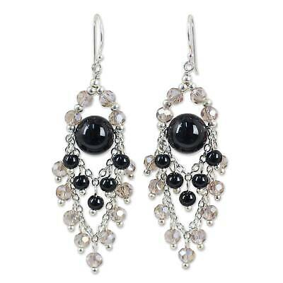 a57956282 Sterling Silver Onyx Glass Chandelier Earrings 925 Handmade NOVICA Thailand