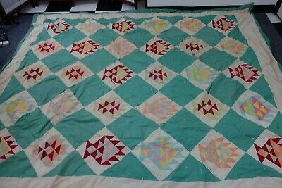 1930's Tied Quilt- BASKET OF FLOWERS- 82x98- Bright Colors- CUTTER SALE